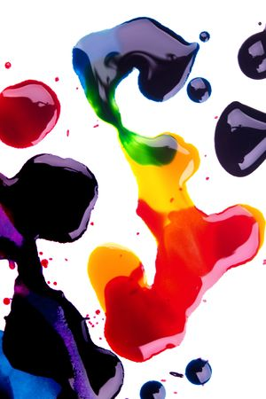 color mixing: Cyan magenta yellow and black on white background