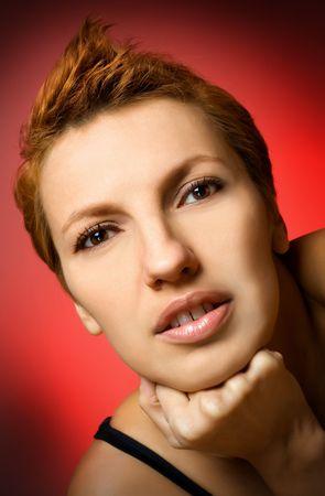 red head woman: Portrait of beautiful red head woman in studio