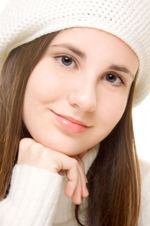 Portrait of beautiful teenage girl in winter outfit photo