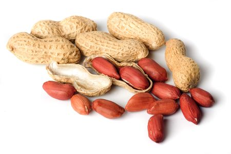 allergic ingredients: Roasted peanuts in shells isolated on white background