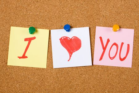 I love You written on paper notes pinned at cork board Stock Photo - 6488091
