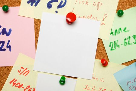 Blank sheet of paper pinned on cork notice board Stock Photo - 6488092