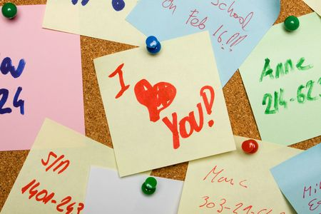 Love message pinned on cork notice board Stock Photo - 6488085