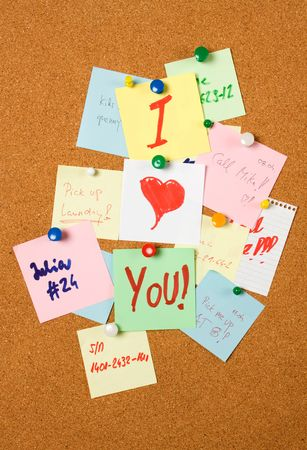 I love You note pinned on cork notice board Stock Photo - 6578799