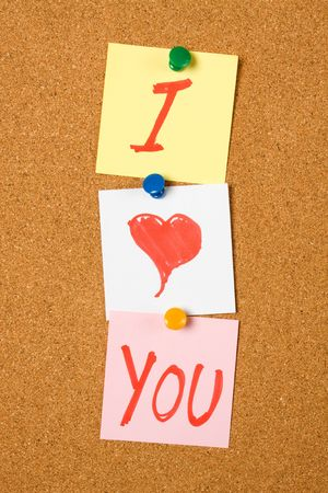 I love You note pinned on cork notice board Stock Photo - 6578797