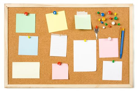 noteboard: Cork notice board with blank sticky notes