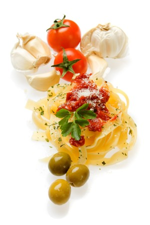 fettuccine: Italian fettuccine pasta isolated on white background