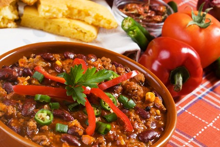 chili peppers: Traditional mexican chili beans with ground beef Stock Photo