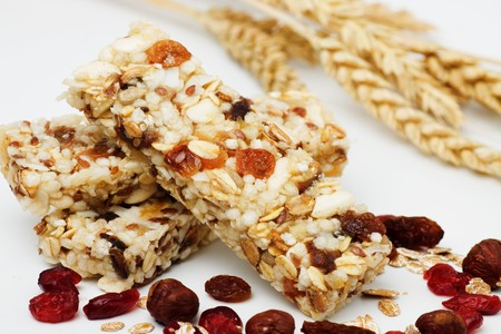 macrobiotic: Protein bars with dried fruit on white background (not isolated)