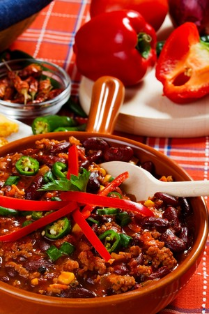 traditional mexican chili with kidney bean and ground beef photo