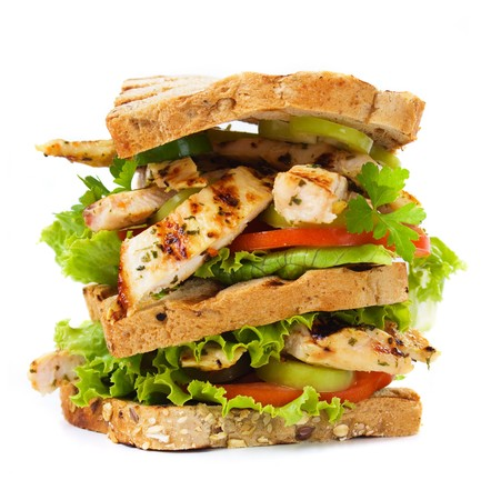 Grilled chicken sandwich isolated on white background