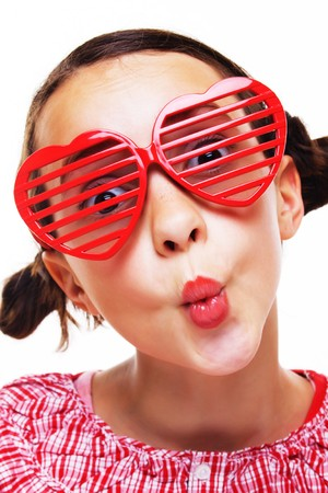 pretty little girl: Portrait of pretty little girl with shutter shades