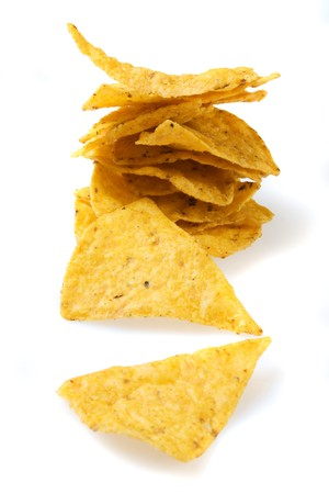 corn tortilla: Corn tortilla chips isolated on white background