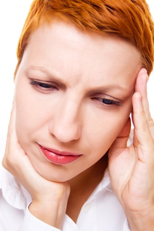 Adult business woman with migraine on white background photo
