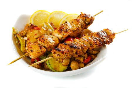 chicken meat: Grilled chicken meat with vegetables isolated on white background