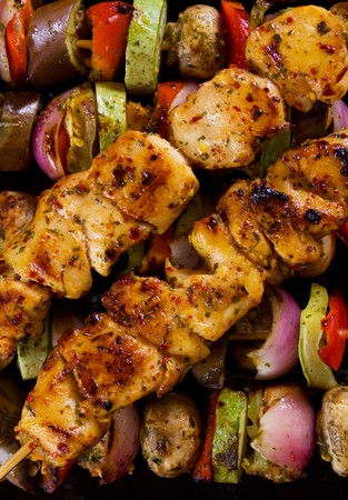 chicken meat: Grilled chicken meat and vegetables on skewer