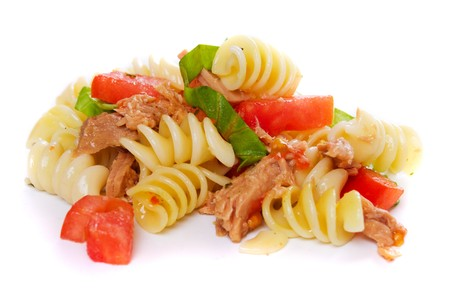 Pasta salad with tuna meat isolated on white background photo