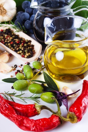 balsamic vinegar: Extra virgin olive oil with spices and food ingredients Stock Photo