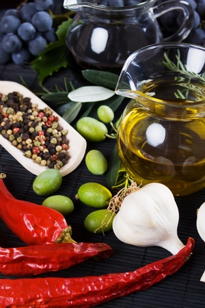 balsamic vinegar: Olive oil and balsamic vinegar with spices and food ingredients