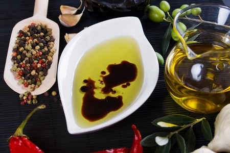 Olive oil and balsamic vinegar with mediterranean spices Stock Photo - 8294348