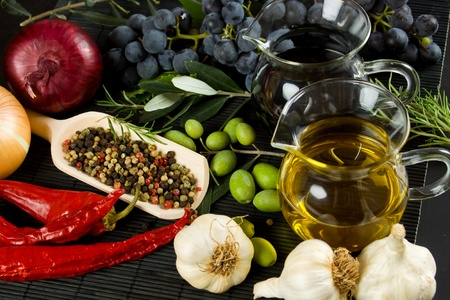 balsamic: Extra virgin olive oil and balsamic vinegar with mediterranean food ingredients Stock Photo