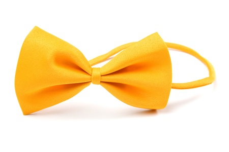 bowtie: Classic yellow bowtie isolated on white background