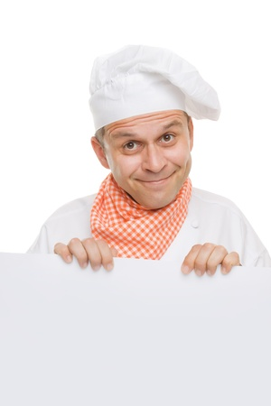 Smiling chef holding info board isolated on white photo