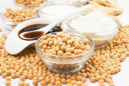 Sojabohnen und Soja-Produkte verwendet in Asien eine vegetarische Küche Lizenzfreie Bilder