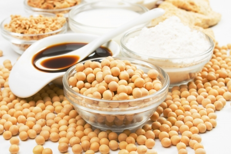 Soybean and soy products used in asian an vegetarian cuisine photo