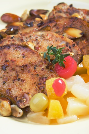 loin chops: Caribbean style spicy pork loin chops with tropical fruit