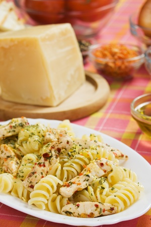 chicken meat: Traiditional italian pasta with chicken meat and spices