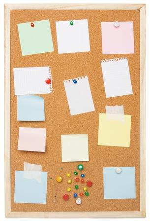 Cork notice board isolated on white background photo