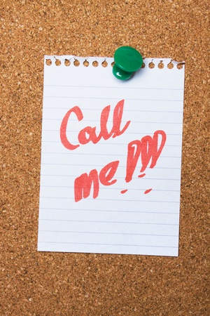 Call me note pinned on cork notice board Stock Photo - 9804867
