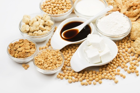 soy bean: Soy sauce with other products made from soybean over white background