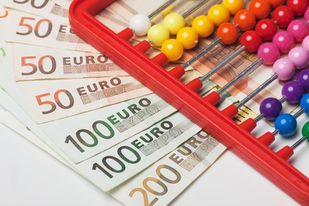 Abacus toy calculator and euro, european money banknotes Stock Photo - 10024140
