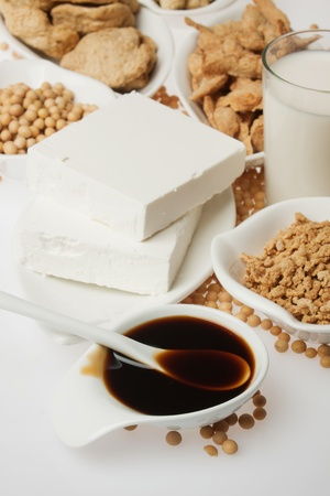 soysauce: Tofu, sauce and other soy products over white background