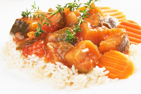 Zucchini, carrot and other vegetable in ratatouille with cooked rice Stock Photo - 10201665