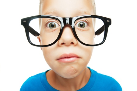 nerd glasses: Young boy with nerd glasses isolated on white background