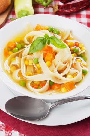 noodle soup: Healthy noodle soup with carrot, green peas and corn