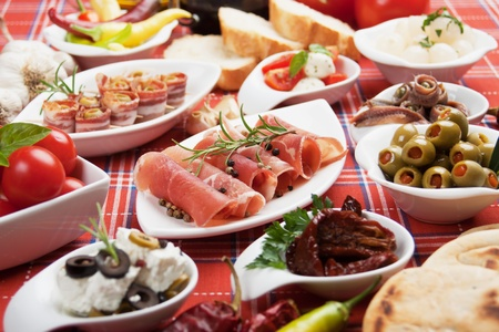 spanish tapas: Antipasto, tapas, various appetizer food traditional in meditarranean countries Stock Photo
