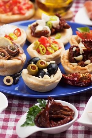 Antipasto, tapas, various appetizer food traditional in meditarranean countries photo
