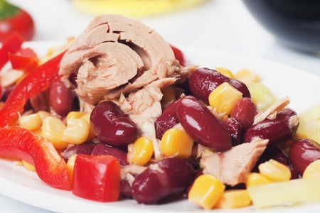 corn salad: Mexican chili bean, corn and tuna salad