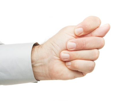 obscene: Obscene hand gesture isolated on white background Stock Photo