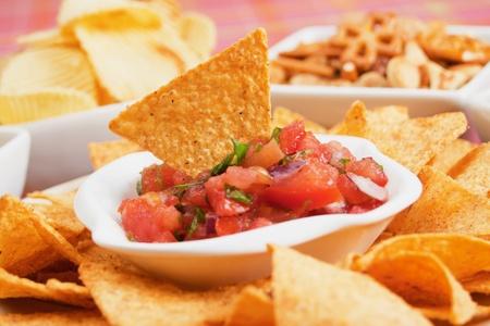 corn chip: Nachos corn chips with fresh homemade salsa Stock Photo