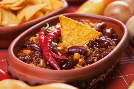 Mexican chili con carne with kidney bean and corn Foto de archivo