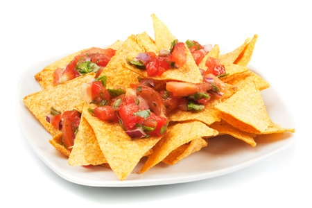chips and salsa: Nachos corn chips with fresh homemade mexican salsa