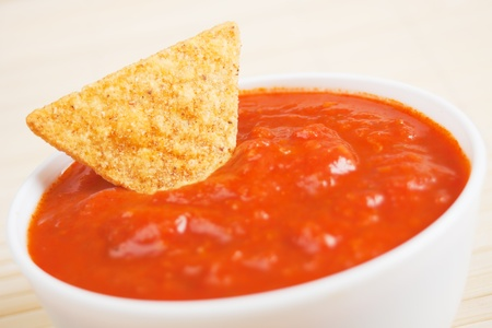 chips and salsa: Nachos corn chips served with homemade salsa