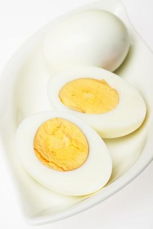 hard boiled: Hard boiled chicken eggs over white background