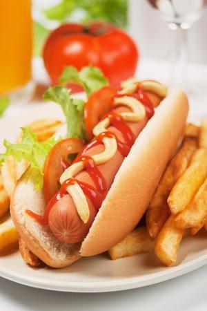 perro caliente: Perro caliente con tomate, lechuga y papas fritas franc�s