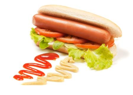 perro comiendo: Perro caliente con tomate y lechuga aisladas sobre fondo blanco
